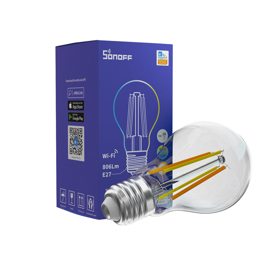 Sonoff Viedā Filament LED Spuldze B02-F-A60 - Dimējama, E27, Wi-Fi, 806Lm, 2200K-6500K, 7W