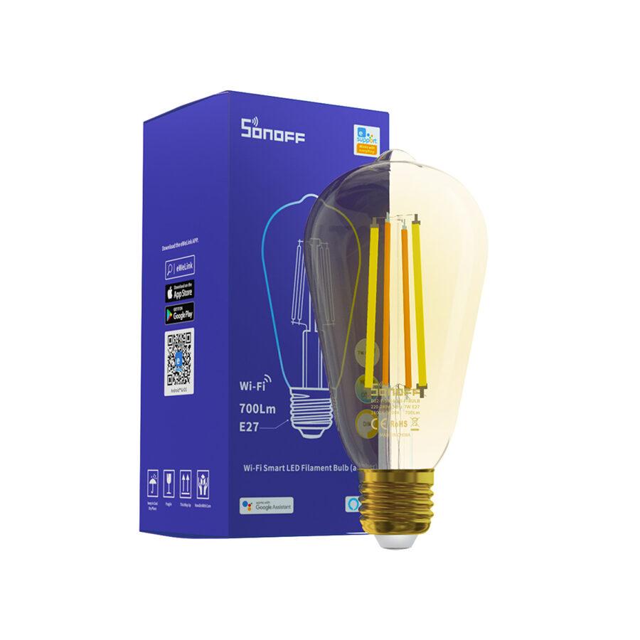 Sonoff Viedā Filament LED Spuldze B02-F-A64 - Dimējama, E27, Wi-Fi, 700Lm, 1800K-5000K, 7W